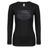 Ladies Black Long Sleeve V Neck T Shirt-Official Logo Graphite Soft Glitter