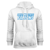 White Fleece Hood-Daytona State Falcons Stacked