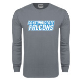 Charcoal Long Sleeve T Shirt-Daytona State Falcons Stacked