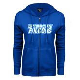 ENZA Ladies Royal Fleece Full Zip Hoodie-Daytona State Falcons Stacked