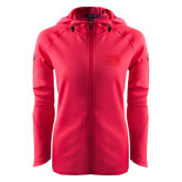 Ladies Tech Fleece Full Zip Hot Pink Hooded Jacket-Official Logo Embroidered