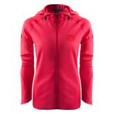 Ladies Tech Fleece Full Zip Hot Pink Hooded Jacket-Official Logo Engraved