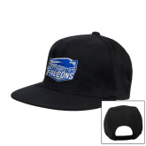 Black Flat Bill Snapback Hat-Official Logo