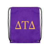 Purple Drawstring Backpack-Greek Letters