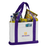 Contender White/Purple Canvas Tote-Stacked Signature