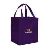 Non Woven Purple Grocery Tote-Stacked Signature