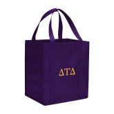 Non Woven Purple Grocery Tote-Greek Letters