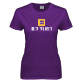 Ladies Purple T Shirt-Stacked Signature