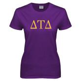 Ladies Purple T Shirt-Greek Letters