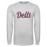 White Long Sleeve T Shirt-Delts Script