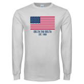 White Long Sleeve T Shirt-American Flag