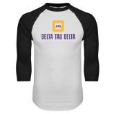 White/Black Raglan Baseball T Shirt-Stacked Signature