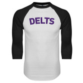 White/Black Raglan Baseball T Shirt-Delts