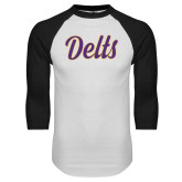 White/Black Raglan Baseball T Shirt-Delts Script