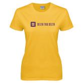Ladies Gold T Shirt-Horizontal Signature