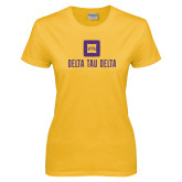 Ladies Gold T Shirt-Stacked Signature