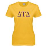 Ladies Gold T Shirt-Greek Letters