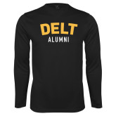 Performance Black Longsleeve Shirt-Delt Alumni