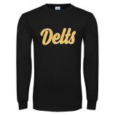 Black Long Sleeve T Shirt-Delts Script