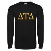 Black Long Sleeve T Shirt-Greek Letters