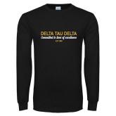 Black Long Sleeve T Shirt-Delta Tau Delta Motto