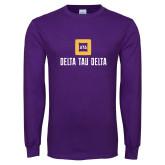 Purple Long Sleeve T Shirt-Stacked Signature