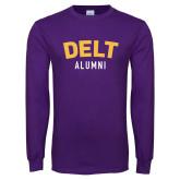 Purple Long Sleeve T Shirt-Delt Alumni