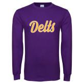 Purple Long Sleeve T Shirt-Delts Script