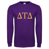 Purple Long Sleeve T Shirt-Greek Letters