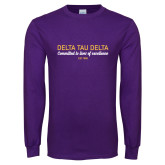 Purple Long Sleeve T Shirt-Delta Tau Delta Motto