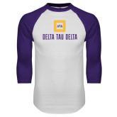 White/Purple Raglan Baseball T Shirt-Stacked Signature