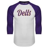 White/Purple Raglan Baseball T Shirt-Delts Script