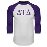 White/Purple Raglan Baseball T Shirt-Greek Letters