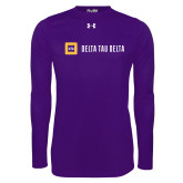 Under Armour Purple Long Sleeve Tech Tee-Horizontal Signature