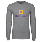 Grey Long Sleeve T Shirt-Stacked Signature