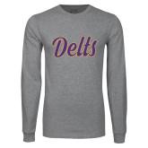 Grey Long Sleeve T Shirt-Delts Script