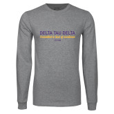 Grey Long Sleeve T Shirt-Delta Tau Delta Motto