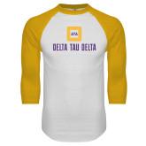 White/Gold Raglan Baseball T Shirt-Stacked Signature