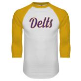 White/Gold Raglan Baseball T Shirt-Delts Script