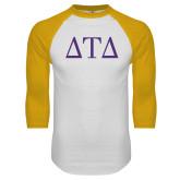 White/Gold Raglan Baseball T Shirt-Greek Letters
