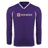 Colorblock V Neck Purple/White Raglan Windshirt-Horizontal Signature