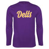 Syntrel Performance Purple Longsleeve Shirt-Delts Script