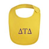 Yellow Baby Bib-Greek Letters