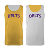 Gold/White Reversible Tank-Arched Delts