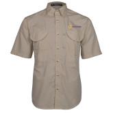 Khaki Short Sleeve Performance Fishing Shirt-Horizontal Signature