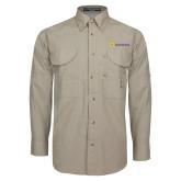 Khaki Long Sleeve Performance Fishing Shirt-Horizontal Signature