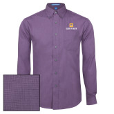 Mens Deep Purple Crosshatch Poplin Long Sleeve Shirt-Stacked Signature