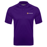 Purple Textured Saddle Shoulder Polo-Horizontal Signature