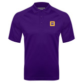 Purple Textured Saddle Shoulder Polo-Badge
