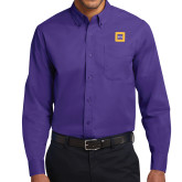 Purple Twill Button Down Long Sleeve-Badge